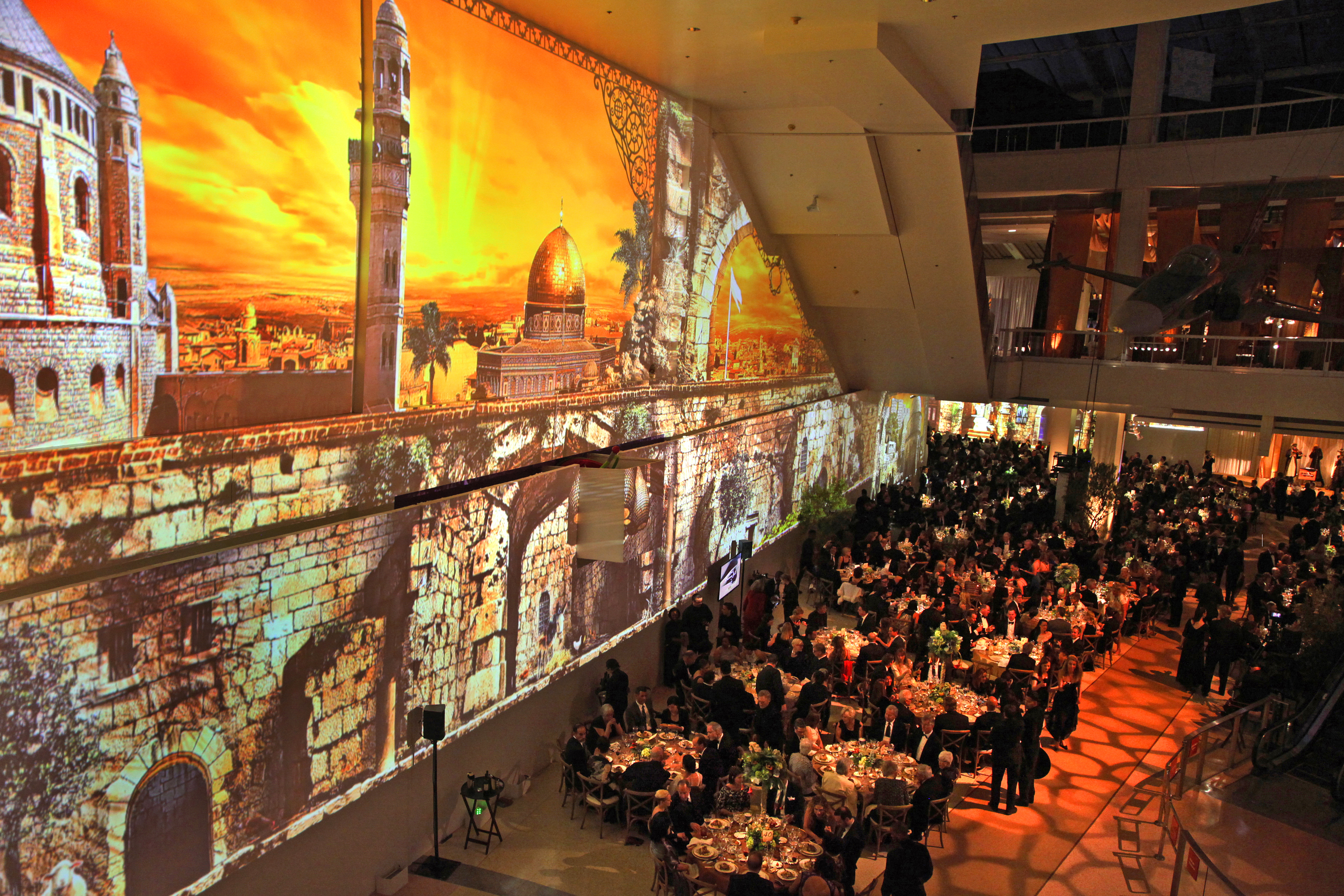 Edgerton Court seated dinner with sunset projection mapping of Jerusalem
