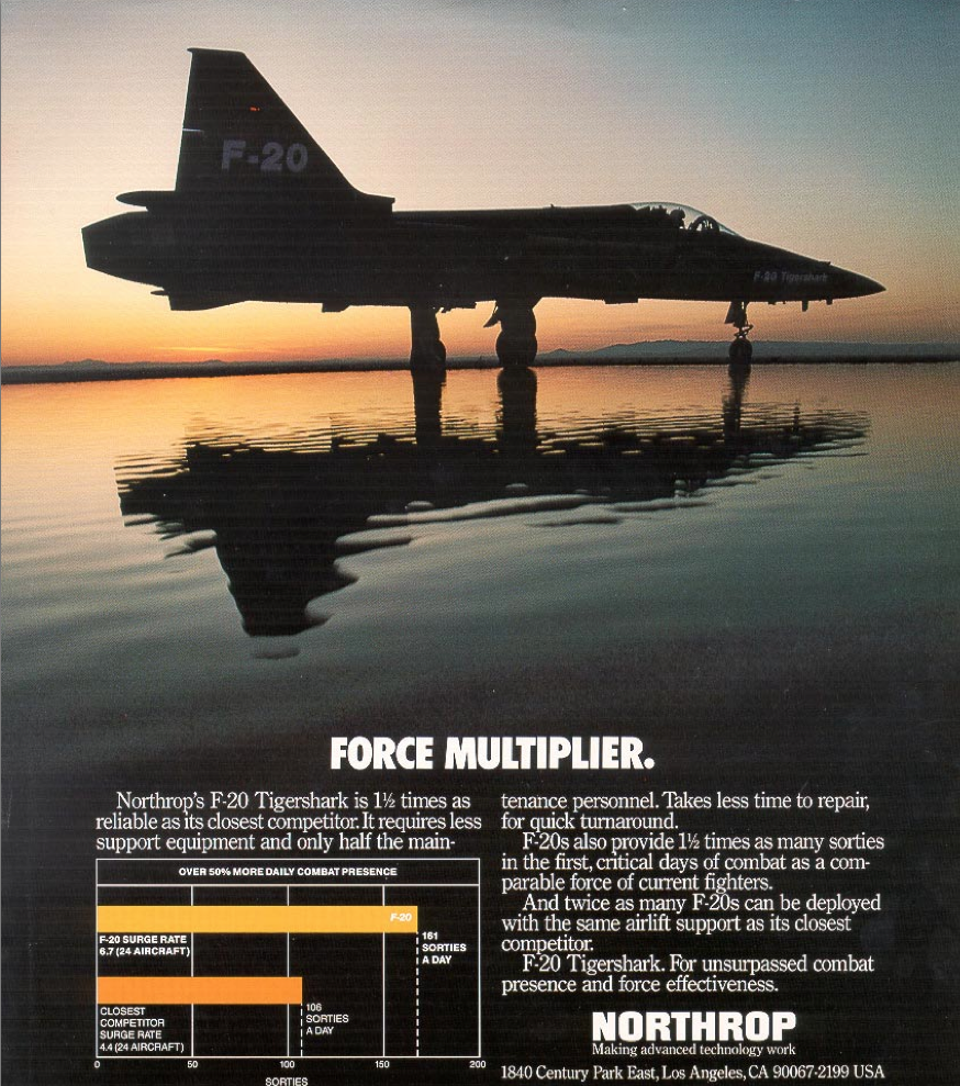 An advertisement for the F-20 Tigershark