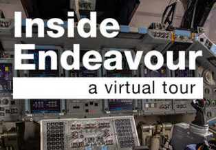 Inside Endeavour: A Virtual Tour graphic text on top on an image of Endeavour's flight deck