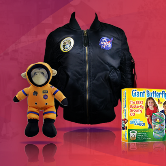 A plush monkey dressed as an astronaut, a NASA bomber jacket and a butterfly garden kit