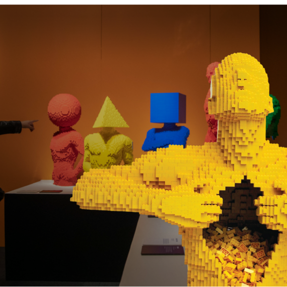 Man built with Lego bricks