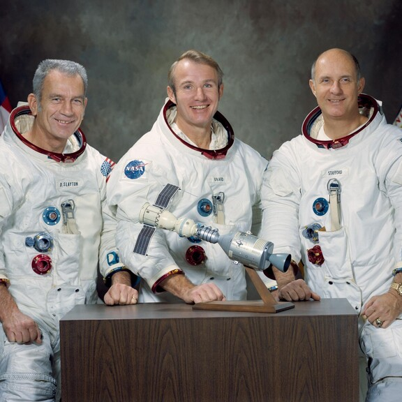 portrait of three NASA astronauts (left to right: Deke Slayton, Vance Brand, and Thomas Stafford) for the 1975 Apollo-Soyuz mission
