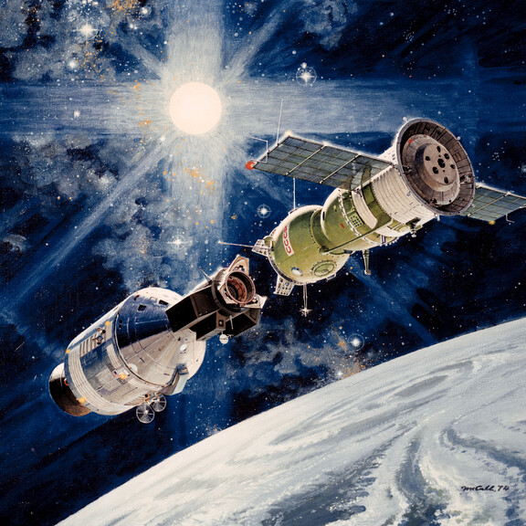 artist's concept illustrating an Apollo spacecraft (left) about to dock with a Soyuz spacecraft