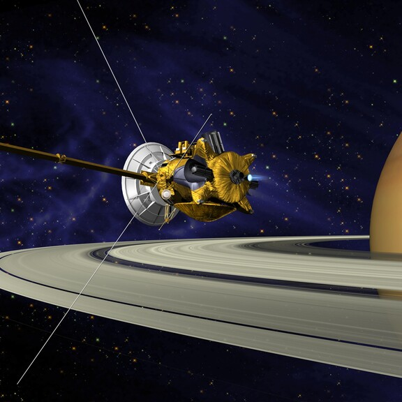 Artist's rendering of the Cassini space probe over Saturn's rings
