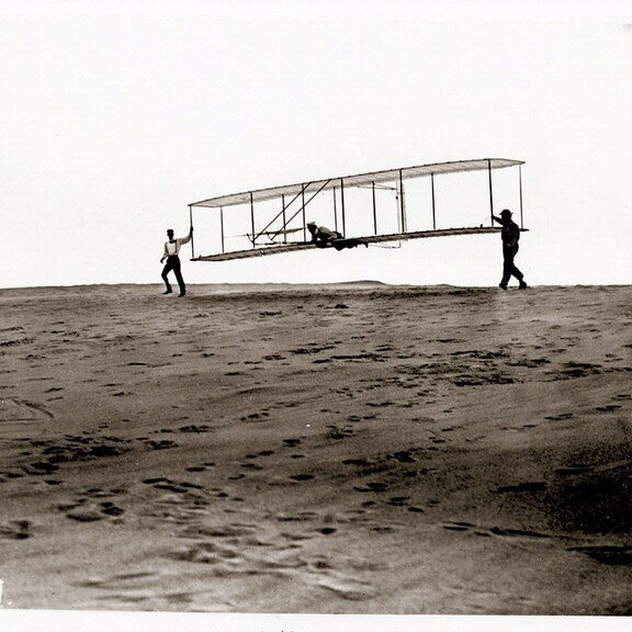 1902 Wright Glider at the start of a glide