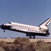 Space shuttle Endeavour lands in the California desert at Edwards Air Force Base