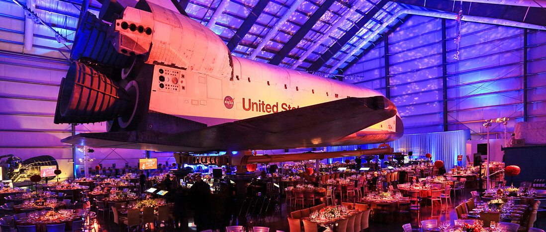 Event set up under the Space Shuttle Endeavour